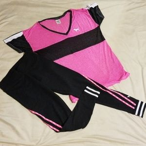 Victoria's Secret Pink Grey/Hot Pink Outfit